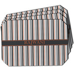 Gray Stripes Dining Table Mat - Octagon w/ Name or Text