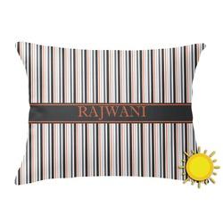 Gray Stripes Outdoor Throw Pillow (Rectangular) (Personalized)