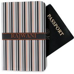 Gray Stripes Passport Holder - Fabric (Personalized)