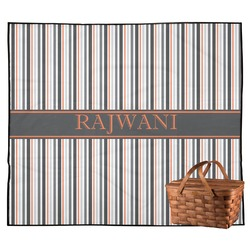 Gray Stripes Outdoor Picnic Blanket (Personalized)