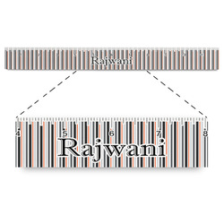 """Gray Stripes Plastic Ruler - 12"""" (Personalized)"""