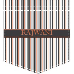 Gray Stripes Iron On Faux Pocket (Personalized)