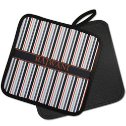 Gray Stripes Pot Holder w/ Name or Text