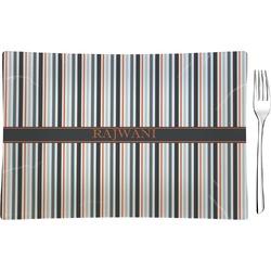 Gray Stripes Glass Rectangular Appetizer / Dessert Plate - Single or Set (Personalized)