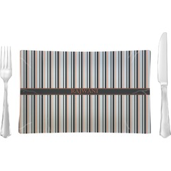 Gray Stripes Glass Rectangular Lunch / Dinner Plate - Single or Set (Personalized)
