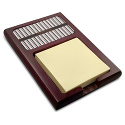 Gray Stripes Red Mahogany Sticky Note Holder (Personalized)