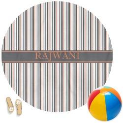Gray Stripes Round Beach Towel (Personalized)