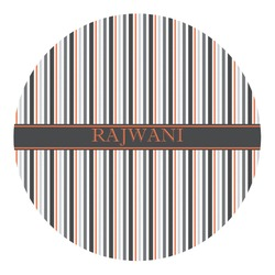 Gray Stripes Round Decal - Small (Personalized)