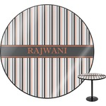 Gray Stripes Round Table (Personalized)