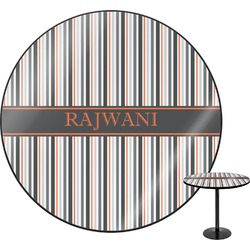 """Gray Stripes Round Table - 30"""" (Personalized)"""
