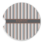 Gray Stripes Sandstone Car Coasters (Personalized)