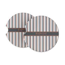 Gray Stripes Sandstone Car Coasters (Personalized)