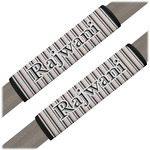 Gray Stripes Seat Belt Covers (Set of 2) (Personalized)