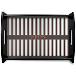 Gray Stripes Black Wooden Tray (Personalized)