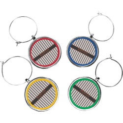 Gray Stripes Wine Charms (Set of 4) (Personalized)