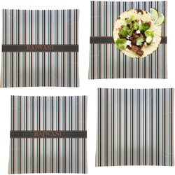 Gray Stripes Set of 4 - Square Dinner Plates (Personalized)