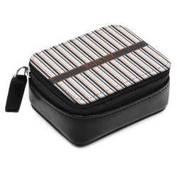 Gray Stripes Small Leatherette Travel Pill Case (Personalized)