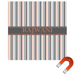 Gray Stripes Square Car Magnet (Personalized)