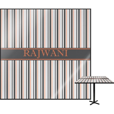 Gray Stripes Square Table Top (Personalized)