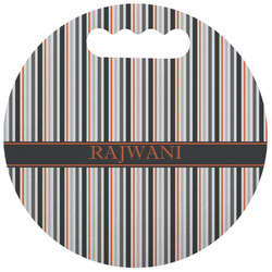 Gray Stripes Stadium Cushion (Round) (Personalized)