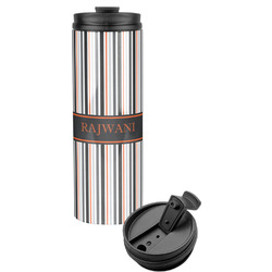 Gray Stripes Stainless Steel Travel Tumbler (Personalized)