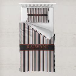 Gray Stripes Toddler Bedding w/ Name or Text