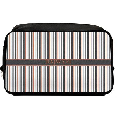 Gray Stripes Toiletry Bag / Dopp Kit (Personalized)