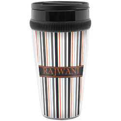 Gray Stripes Travel Mugs (Personalized)