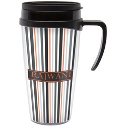 Gray Stripes Travel Mug with Handle (Personalized)