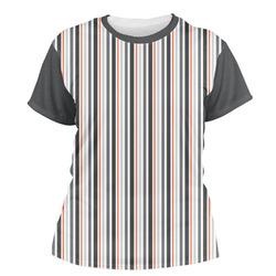 Gray Stripes Women's Crew T-Shirt (Personalized)