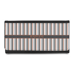 Gray Stripes Leatherette Ladies Wallet (Personalized)
