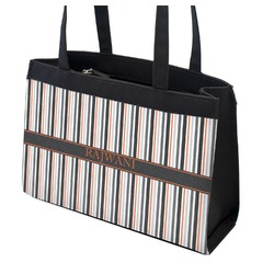Gray Stripes Zippered Everyday Tote (Personalized)