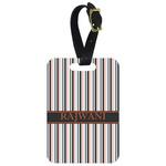 Gray Stripes Metal Luggage Tag w/ Name or Text