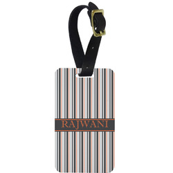 Gray Stripes Aluminum Luggage Tag (Personalized)