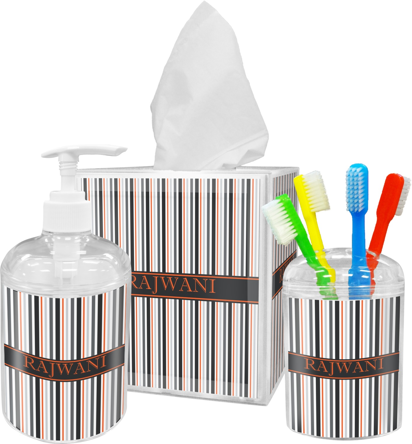 Gray Stripes Bathroom Accessories Set (Personalized) - YouCustomizeIt