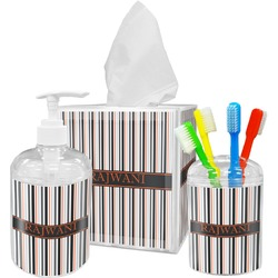 Gray Stripes Bathroom Accessories Set (Personalized)