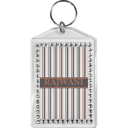 Gray Stripes Bling Keychain (Personalized)