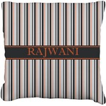 Gray Stripes Faux-Linen Throw Pillow (Personalized)