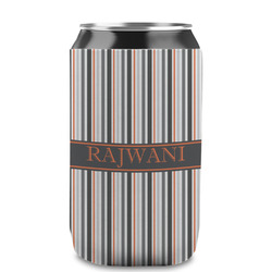 Gray Stripes Can Sleeve (12 oz) (Personalized)