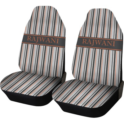 Gray Stripes Car Seat Covers (Set of Two) (Personalized)