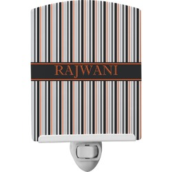 Gray Stripes Ceramic Night Light (Personalized)