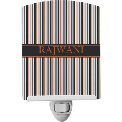 Gray Stripes Ceramic Night Light (Personalized)