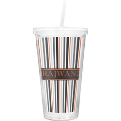 Gray Stripes Double Wall Tumbler with Straw (Personalized)