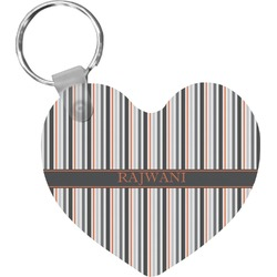 Gray Stripes Heart Keychain (Personalized)