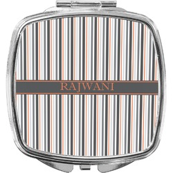Gray Stripes Compact Makeup Mirror (Personalized)