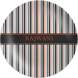 Gray Stripes Melamine Plate (Personalized)