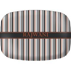 Gray Stripes Melamine Platter (Personalized)