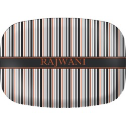 Gray Stripes Melamine Platter (Personalized)