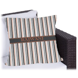 Gray Stripes Outdoor Pillow (Personalized)