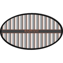 Gray Stripes Oval Trailer Hitch Cover (Personalized)